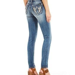Miss Me Bling Fleur de Lis Pocket Skinny Jeans, 28